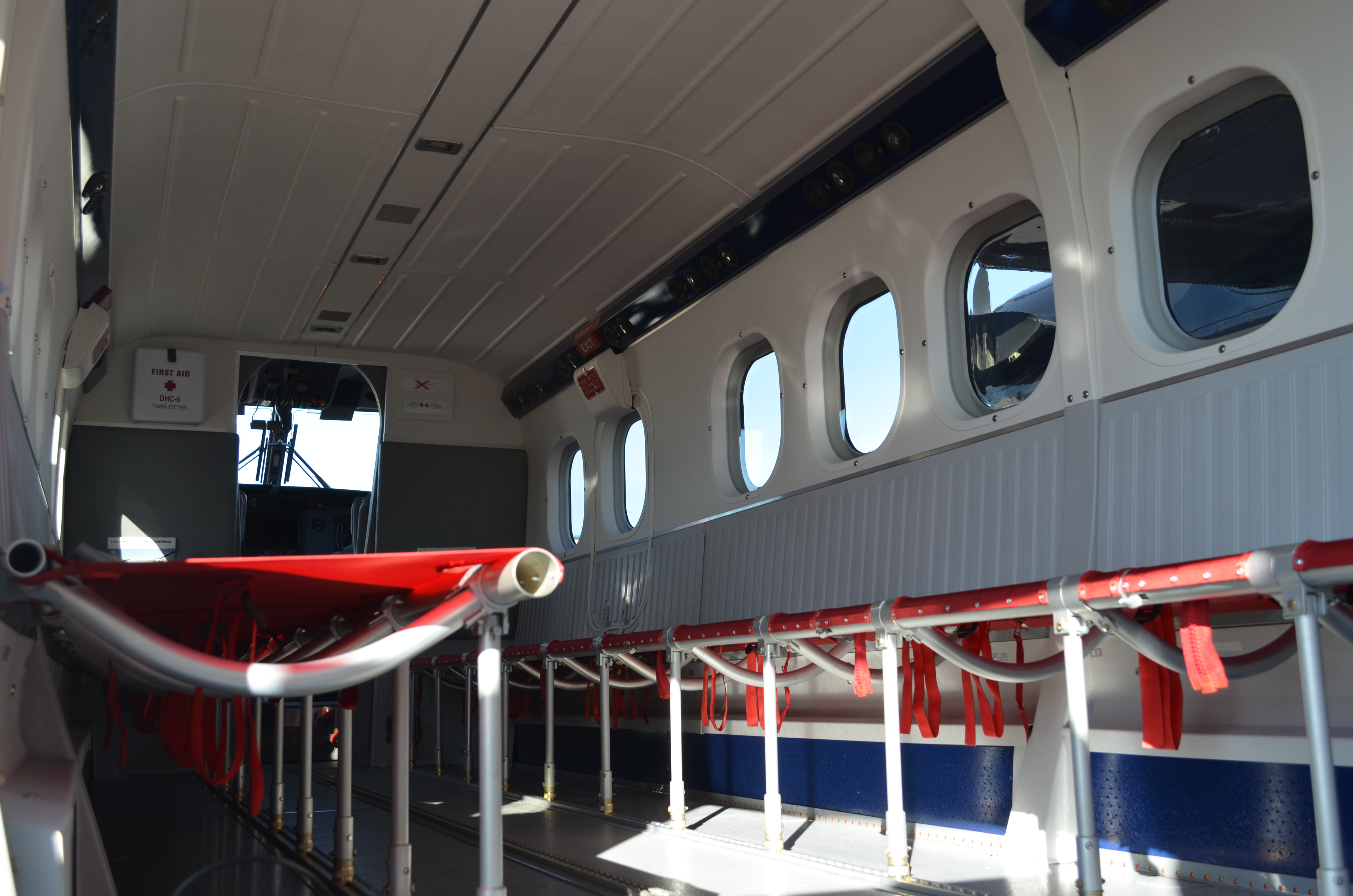 Twin Otter interior set up for skydiving
