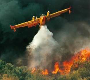 CL-415 aircraft bombing a forest fire