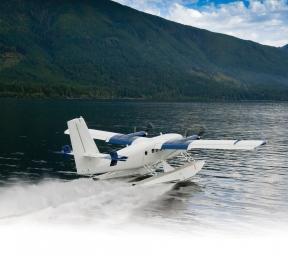 Viking 400S Seaplane landing on water
