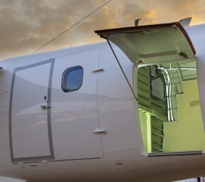 Cargo door on a turboprop aircraft