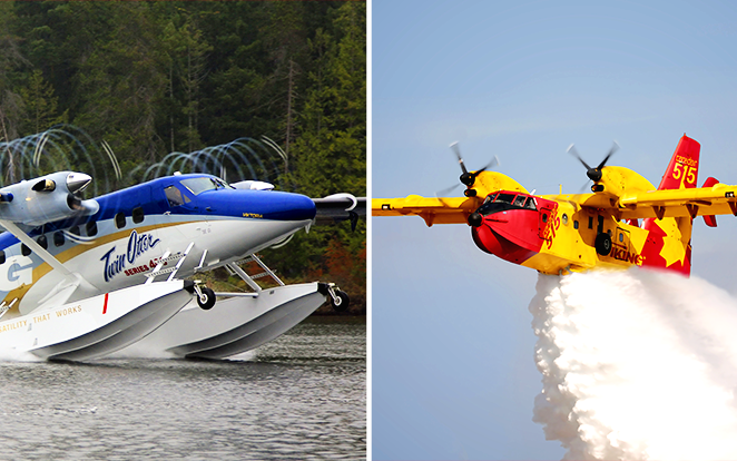 On the left: Viking DHC-6 Twin Otter Series 400 on amphibious floats. On the right: Viking Canadair CL-515.